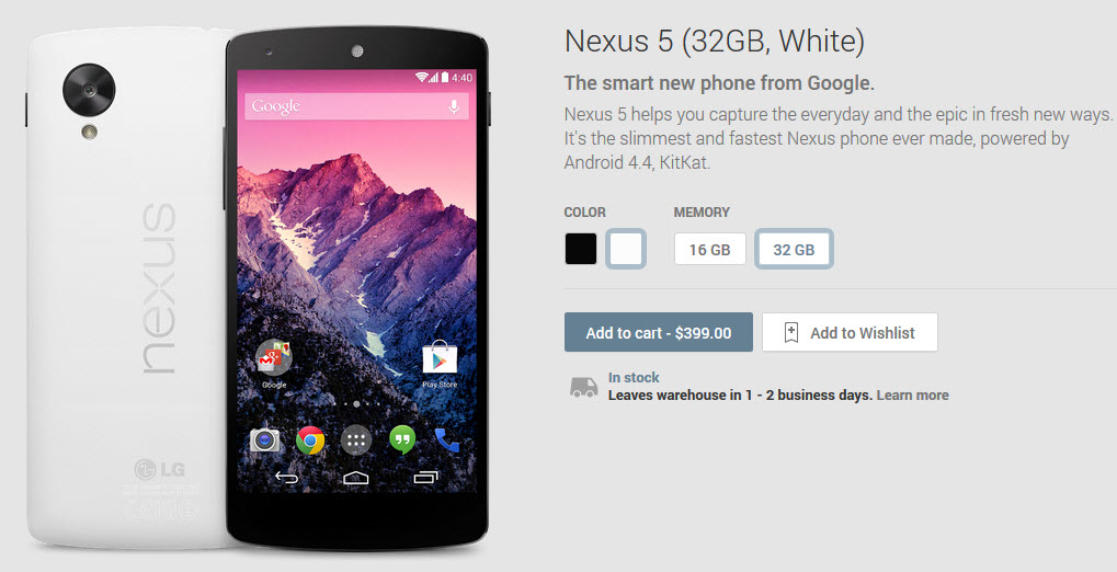 Nexus 5 oficial Google Play