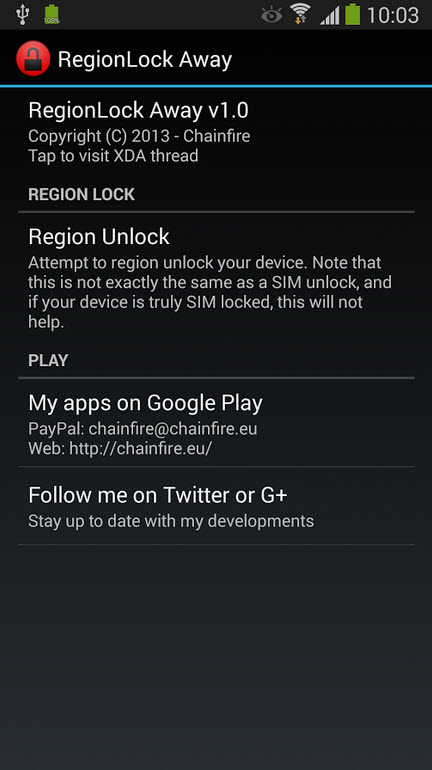 Esta APP desactiva el PIN de desbloqueo de red SIM en el Samsung Galaxy Note 3 (root)