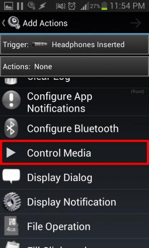 Actions MacroDroid Control media