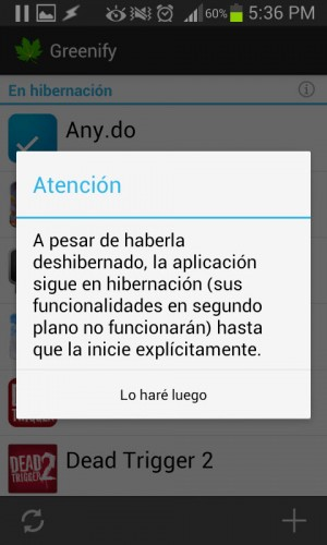 Advertencia al deshibernar aplicación con greenify