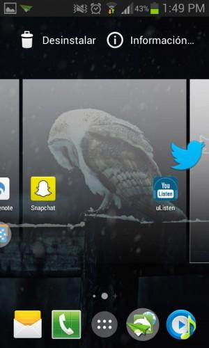 Agregando una pantalla, al arrastrar un icono desde el organizador de aplicaciones (App Drawer)