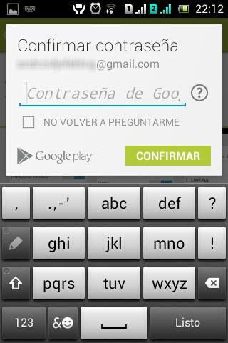 Confirmar contraseña al volver a comprar aplicacion en Google Play