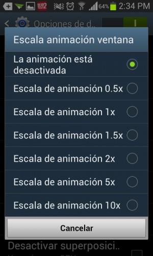 Desactivar animaciones opciones de desarrollador