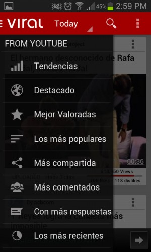 Menú de Viral Floating YouTube Pop-up