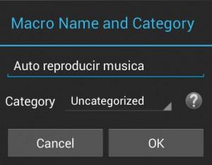 Nombre y Categoría de Macro en MacroDroid