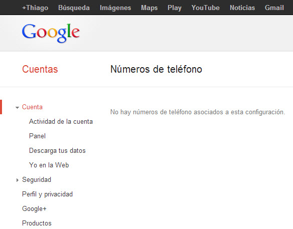Numero de teléfono no asociado Google