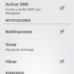 Desactiva los SMS en Hangouts 2.0, para recibirlos con la aplicación de Mensajes original