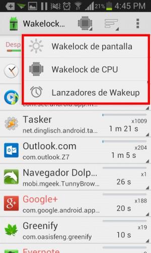 Tipos de wakelocks en aplicación wakelock detector