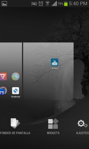Opciones de Widgets y Fondos de pantalla, también al presionar el botón Menú del dispositivo