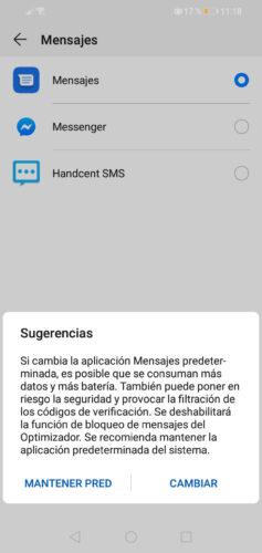 advertencia al desactivar la app de sms original