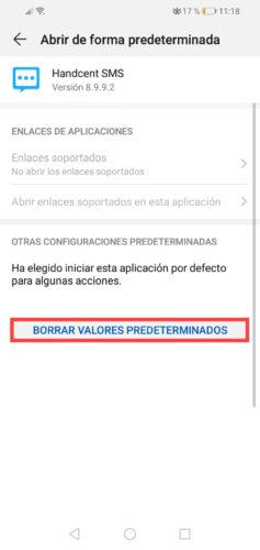 desactivar sms apps de terceros huawei valores predeterminados 2