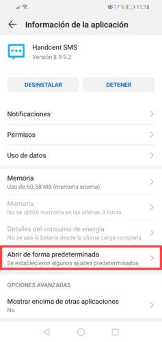 desactivar sms apps de terceros huawei valores predeterminados