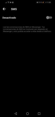 desactivar sms apps de terceros messenger 2