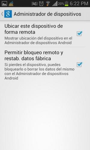 Permisos que se deben activar para el correcto funcionamiento de Android Device Manager