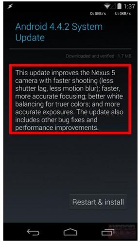 Android 4.4.2 Nexus 5 Actualización de Sistema