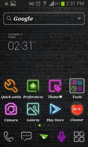 Dodol Launcher tema neon