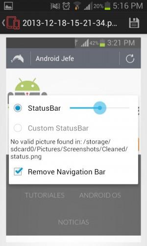 Edicion de la barra de estado screenshot cleaner