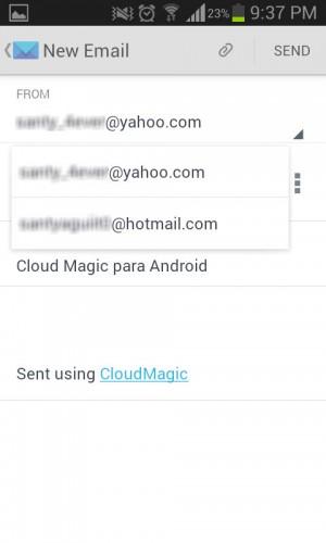 Elegir cuenta de correo para envia mail - CloudMagic