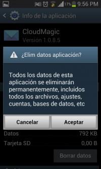 Eliminar datos de aplicación advertencia Android