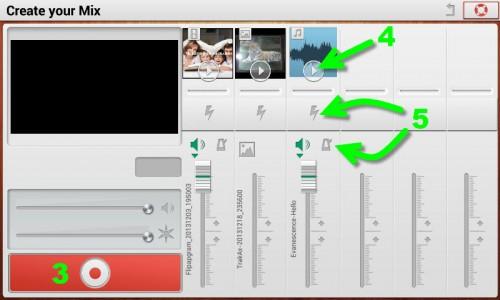 Iniciando la creación del vídeo (3), añadiendo las secuencias (4) y luego agregando efectos en el proceso(5)