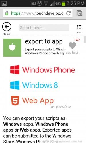Exportar script a aplicacion con touchdevelop