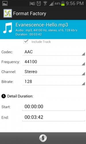 Pantalla de conversión de audio en Format Factory