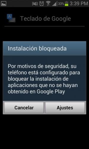 Instalación bloqueada de una aplicación en Android
