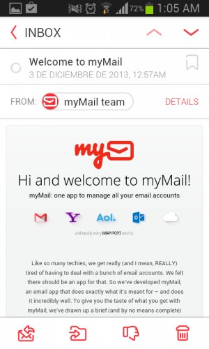 Mail recibido en mymail