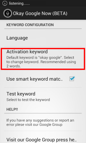 Activation Keyword Okay Google Now