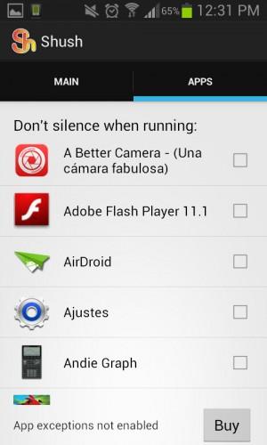 Shush no silenciar aplicaciones
