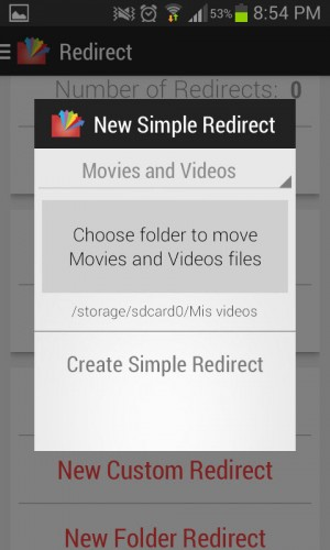 Simple Redirect para mover archivos de vídeo