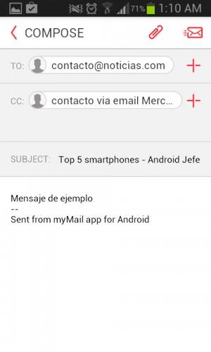 Ventana de redactar en myMail Android