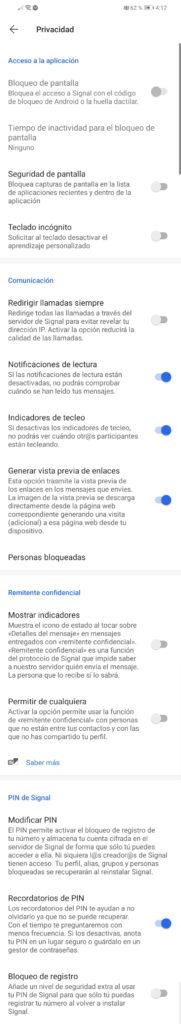 ajustes privacidad signal