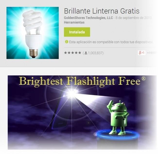 brillante linterna gratis para Android