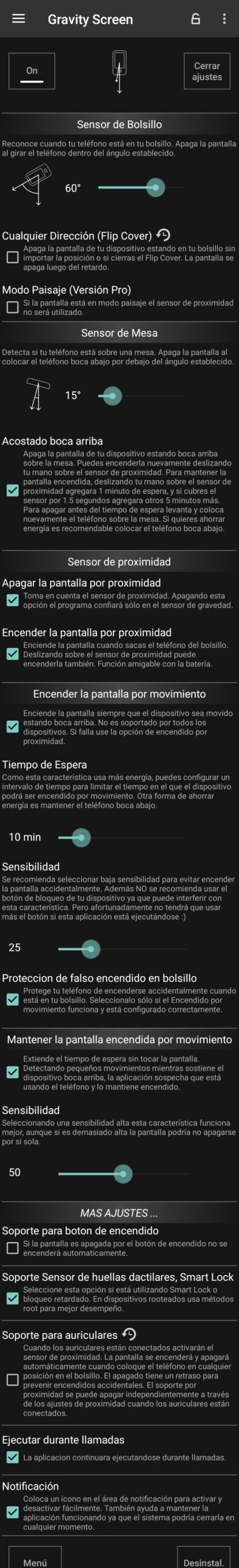 gravity screen ajustes