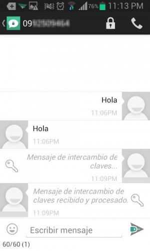 El candado cerrado confirma que las SMS que envíen las dos personas estarán encriptados