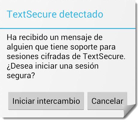 textsecure detectado iniciar sesión segura