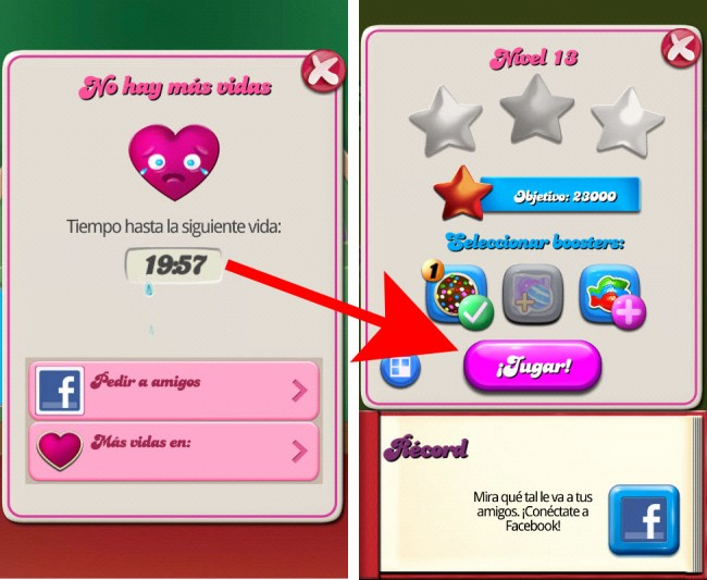 Conseguir nuevas vidas candy crush con time travel