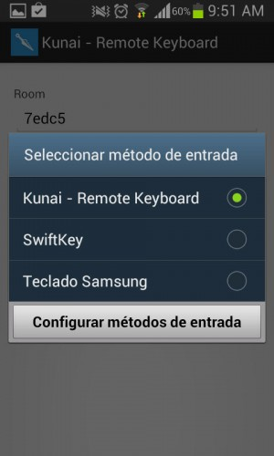 Kunai remote keyboard predeterminado android