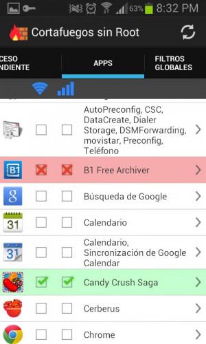 Permitir denegar acceso internet aplicaciones android firewall no root 2
