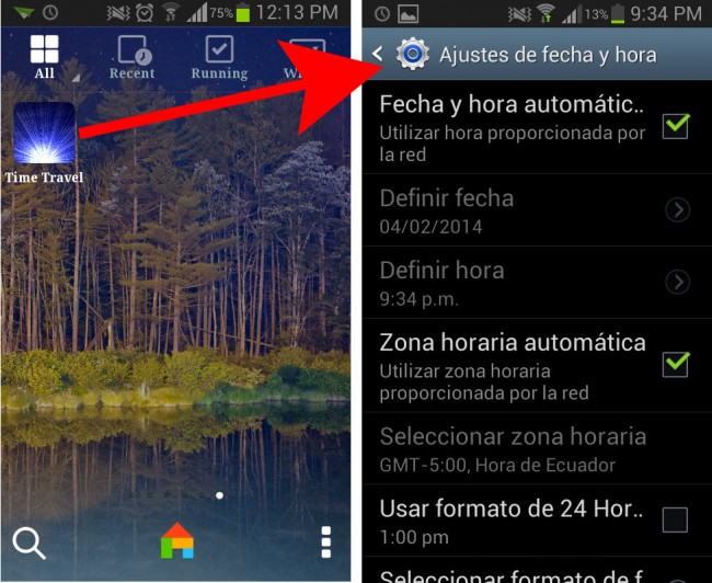 Time travel cambiar hora android