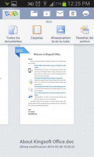 Kingsoft office español inicio