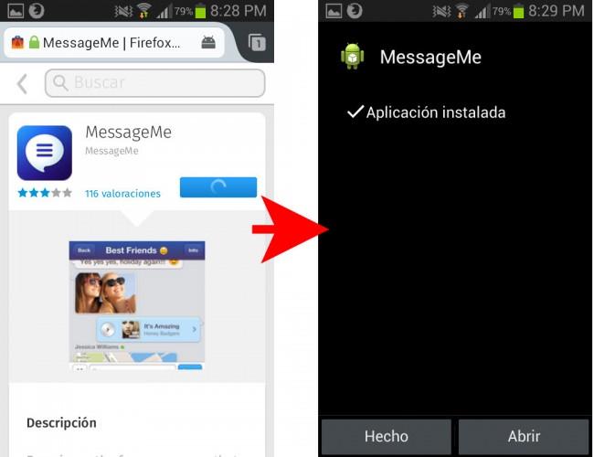 MessageMe del Firefox Marketplace instalada en Android