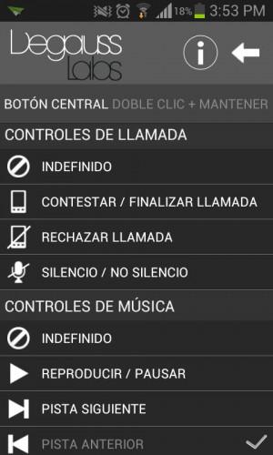 Opciones para boton