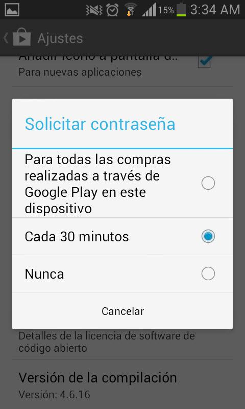 Es conveniente introducir una contraseña para habilitar las compras en Play Store