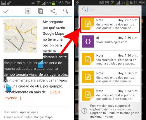 Texto copiado en Android se guarda automáticamente en el portapapeles múltiple de Everclip