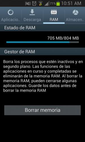 Gestor de RAM y opción Borrar memoria