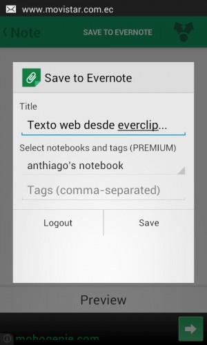 Guardando texto de una página web en una nueva nota en Evernote
