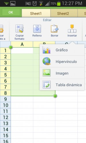 hoja de calculo kingsoft android
