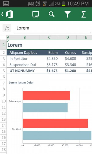 microsoft excel para android